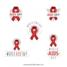 世界爱滋病日多边形丝带收集