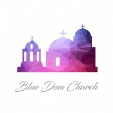 蓝色圆顶教堂,多边形