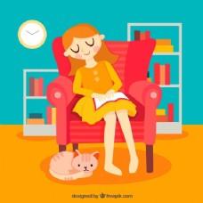 可爱的场景,丰富多彩的女人背景与一本书