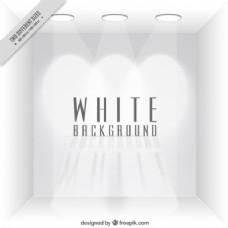 空白色房间背景聚光灯