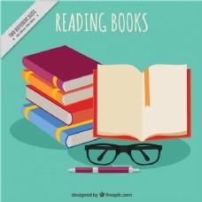 一堆书和眼镜的背景