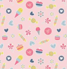 夏天冰淇淋甜甜圈卡通图案矢量素材