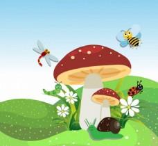 漂亮可爱蘑菇草地背景图