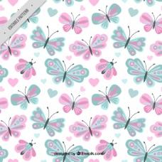 可爱的蝴蝶图案,柔和的颜色