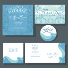 蓝色花纹结婚背景