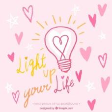 带有心形和浪漫信息的灯泡背景