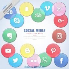 有色背景的社交媒体背景