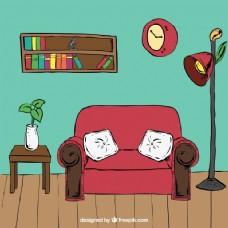 沙发和其他手绘家具休息室室内