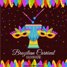 巴西狂欢节背景,色彩斑斓的羽毛和面具