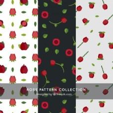 平面设计中红玫瑰图案的多样性