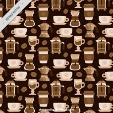 平面设计中的单色咖啡图案
