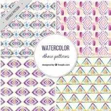 水彩风格的四种民族图案