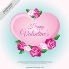 可爱的情人背景与粉红色的色调花朵