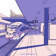 手绘高速火车站