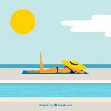 沙滩上放松的女人背景