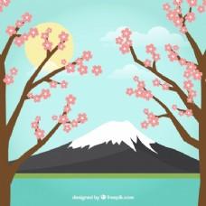 带树木的日本景观背景
