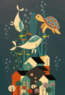梦想设计海底房子背景图