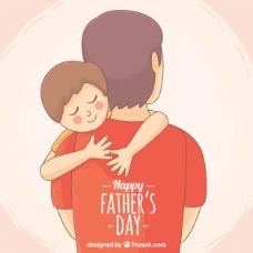 儿子拥抱父亲的可爱背景