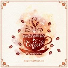 水彩装饰咖啡杯的背景