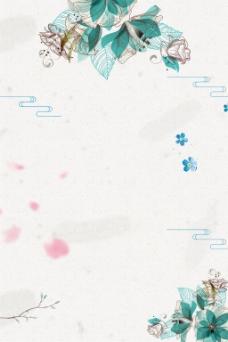 蓝色灰色素描花朵柔美广告背景