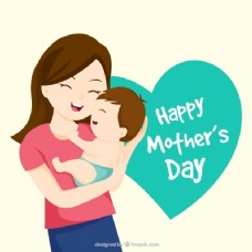 可爱的母亲与婴儿一起欢笑的背景