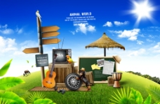 夏日度假草地上创意海报