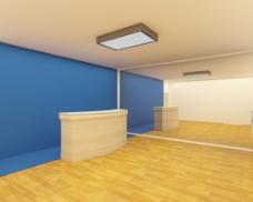 黄色蓝色撞色演播室效果图3Dmax