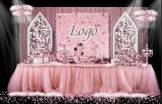 浪漫粉色婚礼甜品区效果图