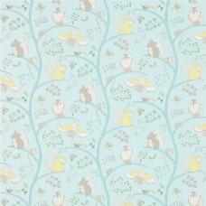 天蓝色花纹布艺壁纸图片