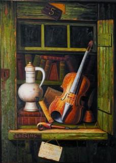 古典书房乐器装饰画