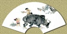 牧童骑黄牛扇面设计图