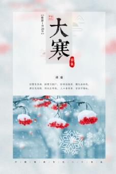 小清新大寒节气海报