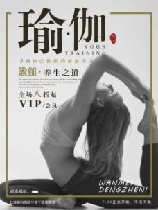 瑜伽运动中国风创意简约商业海报设计模板