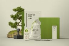 绿色清新化妆品包装样机