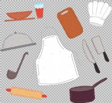 各种手绘厨房用品免抠png透明图层素材