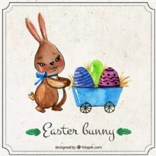 可爱的复活节兔子和手推车