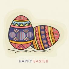 有两个彩色复活节彩蛋的背景