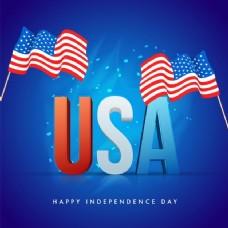 美国3D文本与飘扬的旗帜在闪亮的蓝色背景为快乐的独立日庆祝活动。