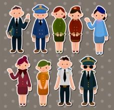警察空姐儿童卡通贴纸标签矢量
