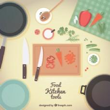 厨房用具和食品