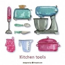 水彩画的厨房工具