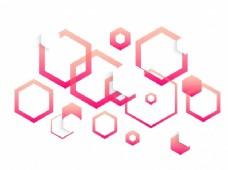 粉红色六角形几何元素,现代抽象背景。