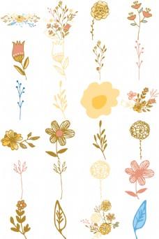 涂鸦手绘花朵和叶子