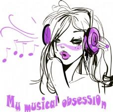 手绘线条女孩耳机音符素材