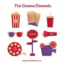 红色和紫色的平面电影配件