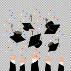 手抛毕业帽毕业元素免抠png透明图层素材