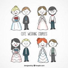 手绘结婚夫妇系列