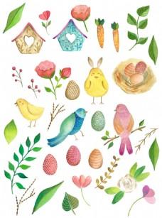 清新植物和小鸟背景