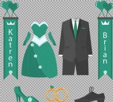 绿色结婚婚礼元素免抠png透明图层素材