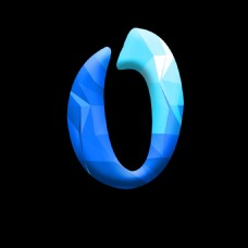 蓝色晶格化数字字体设计